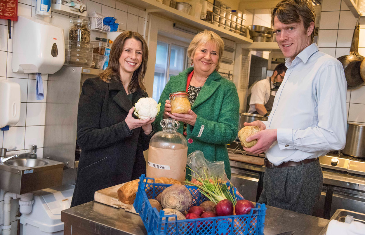 Photo of the Cabinet Secretary for Environment Roseanna Cunningham meeting with Marissa Lippiatt, Head of Resource Efficiency at Zero Waste Scotland and Edward Murray, Chef and Co-Owner of Gardner's Cottage – a sustainable restaurant in Edinburgh