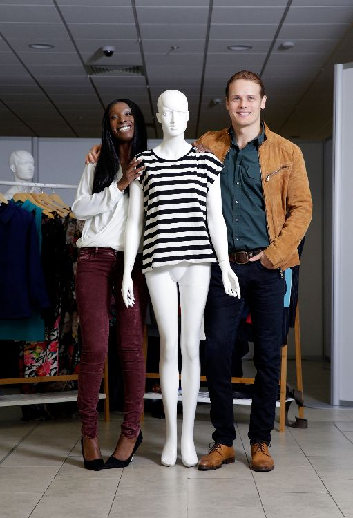 Sam Heughan & Eunice Olumide with a mannequin