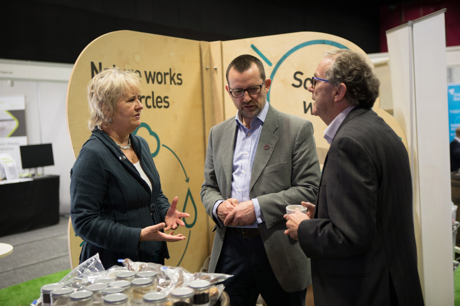 Roseanna Cunningham, Cabinet Secretary for the Environment, Climate Change and Land Reform visiting the Zero Waste Scotland stand