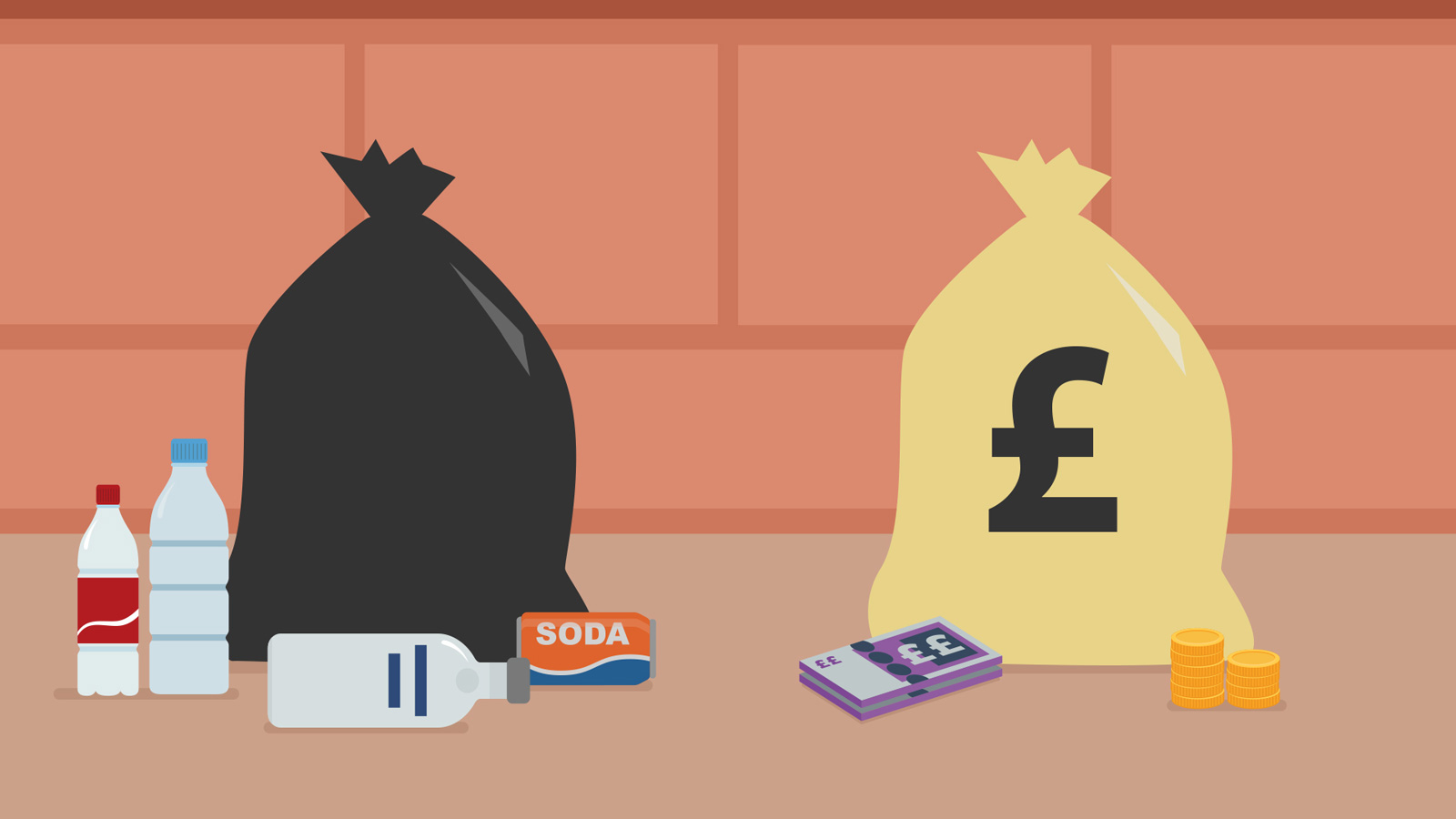 illustration showing litter is money in disguise